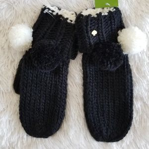 Kate Spade Knitted Pompom Mittens